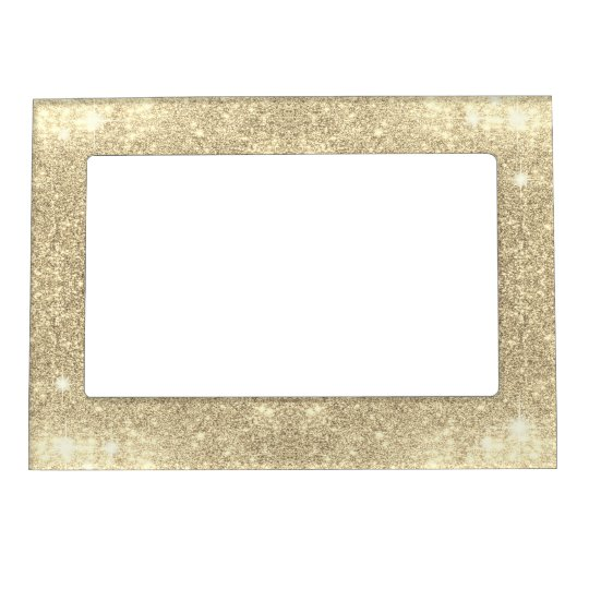 Gold Glitter Classic Glamour Sparkle Faux Picture Frame Magnet