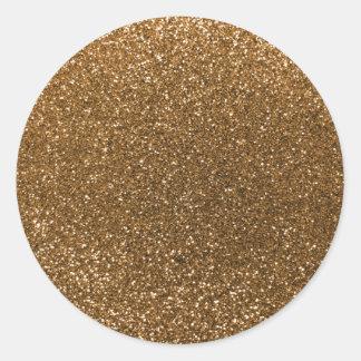 Gold glitter classic round sticker