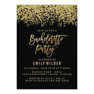 Gold Glitter Confetti Bachelorette Party Card