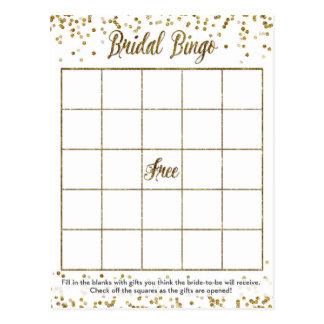 Gold Glitter Confetti Bingo Bridal Shower Game Postcard
