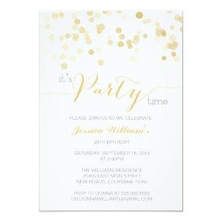 Gold Glitter Confetti   Birthday Party 13 Cm X 18 Cm Invitation Card