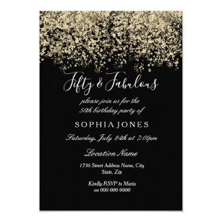 Gold Glitter Confetti Black 50th birthday party Card