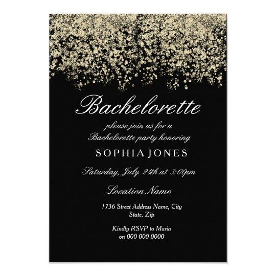 Gold Glitter Confetti Black Bachelorette Party Card