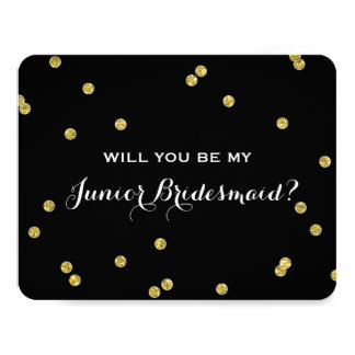 Gold Glitter Confetti Black | Junior Bridesmaid Card
