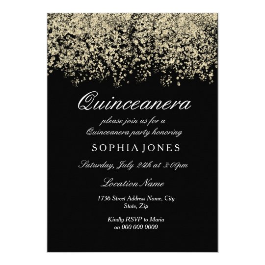 Gold Glitter Confetti Black Quinceanera Party Card