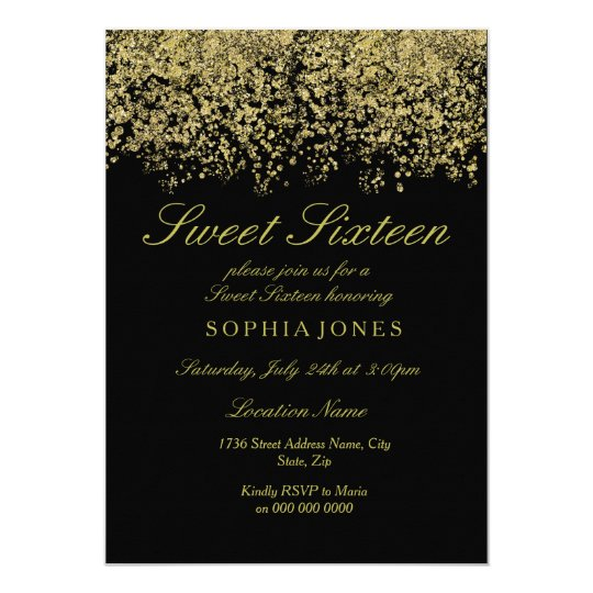 Gold Glitter Confetti Black Sweet 16 Invitation