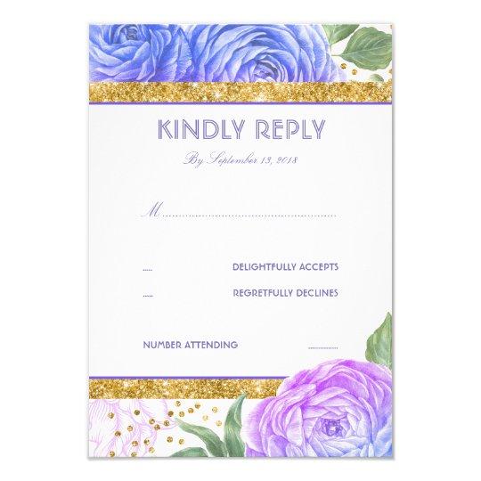 Gold Glitter Confetti Blue Purple Floral RSVP Card