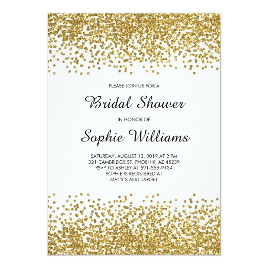 Gold Glitter Confetti Bridal Shower Card