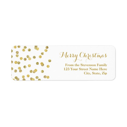Gold Glitter Confetti Christmas Address Label