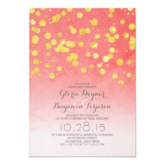 Gold glitter confetti coral pink wedding invites