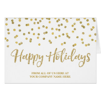 Gold Glitter Confetti Corporate Christmas Card