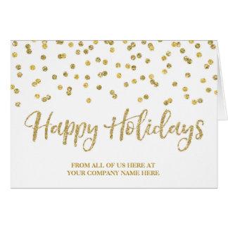 Gold Glitter Confetti Corporate Christmas Greeting Card