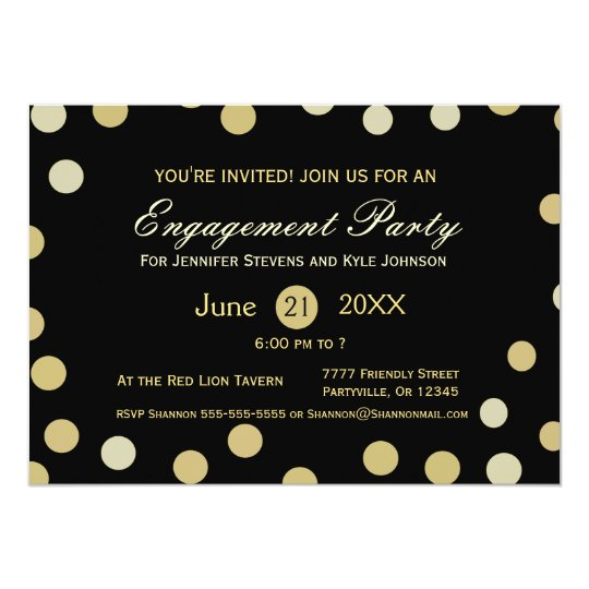 Gold Glitter Confetti Engagement Card