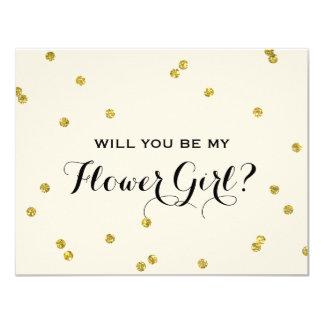 Gold Glitter Confetti | Flower Girl 11 Cm X 14 Cm Invitation Card