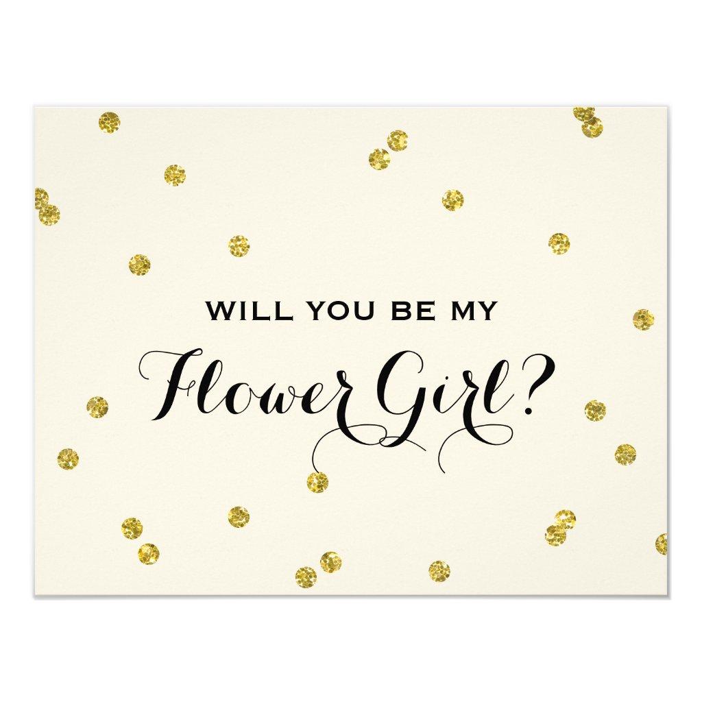 Gold Glitter Confetti | Flower Girl Card