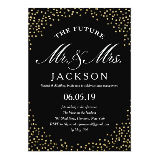 Gold Glitter Confetti Future | Engagement Party Card