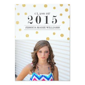 Gold Glitter Confetti Graduation Invitations