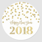 Gold Glitter Confetti Happy New Year 2018 Classic Round Sticker