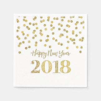 Gold Glitter Confetti Happy New Year 2018 Disposable Napkin
