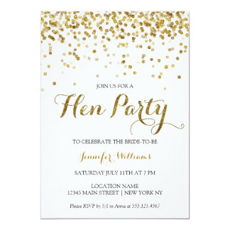 Gold Glitter Confetti Hens Party Invite