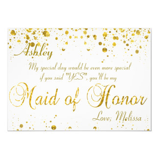Gold Glitter Confetti | Maid of Honor Card