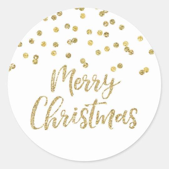 Gold Glitter Confetti Merry Christmas Classic Round Sticker