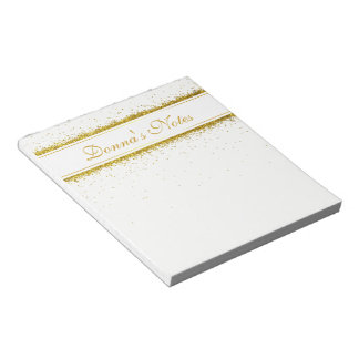 Gold Glitter Confetti Name - Notepad