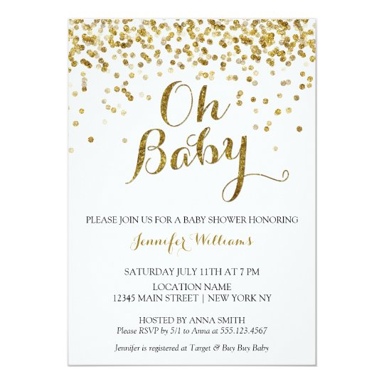 gold glitter confetti oh baby baby shower invite. Black Bedroom Furniture Sets. Home Design Ideas