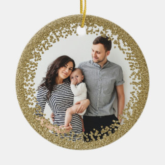 Gold glitter confetti photo ornament faux foil