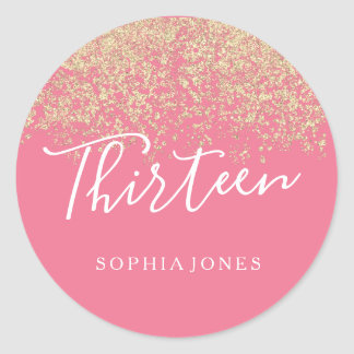 Gold Glitter Confetti Pink 13th birthday party Classic Round Sticker