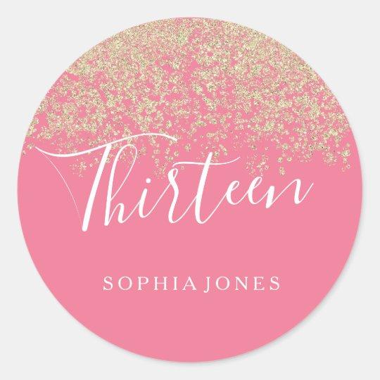 Gold Glitter Confetti Pink 13th birthday party Classic