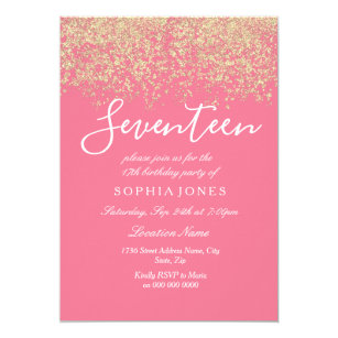 17th birthday party for girls invitations announcements zazzle gold glitter confetti pink 17th birthday party invitation stopboris Images