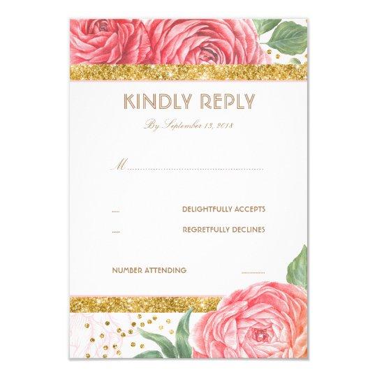 Gold Glitter Confetti Pink Floral Wedding RSVP Card