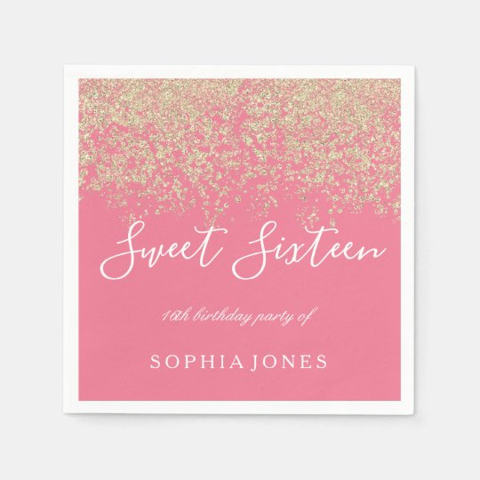 Gold Glitter Confetti Pink Sweet 16 Birthday Party