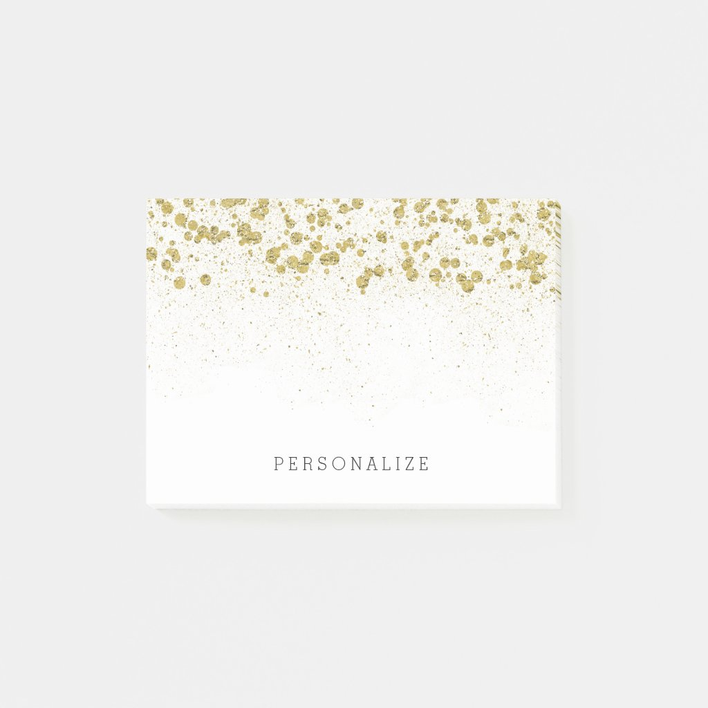 Gold Glitter Confetti Post It Notes