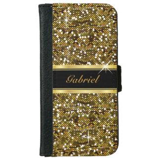 Gold Glitter Confetti Print iPhone 6 Wallet Case
