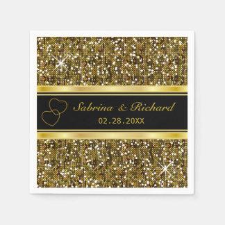 Gold Glitter Confetti Print   Personalize Paper Napkin