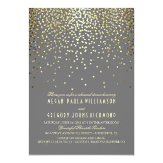 Gold Glitter Confetti Rehearsal Dinner Card