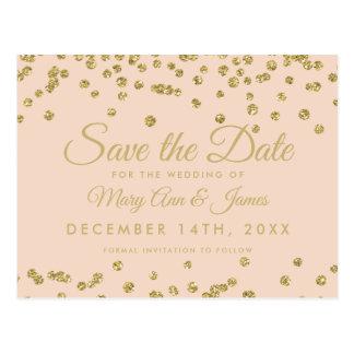 Gold Glitter Confetti Save The Date Blush Rose Postcard