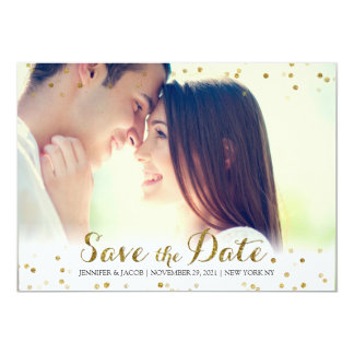 Gold Glitter Confetti Save the Date Photo Card 13 Cm X 18 Cm Invitation Card