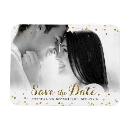 Gold Glitter Confetti Save the Date Photo Magnet