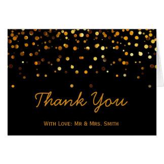 Gold Glitter Confetti Sparkles Black Thank You Greeting Card