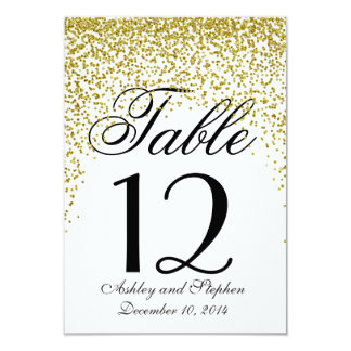 Gold Glitter Confetti Table Numbers Card