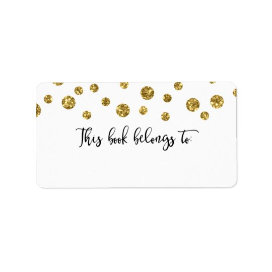 Gold Glitter Confetti This Book Belongs To Label
