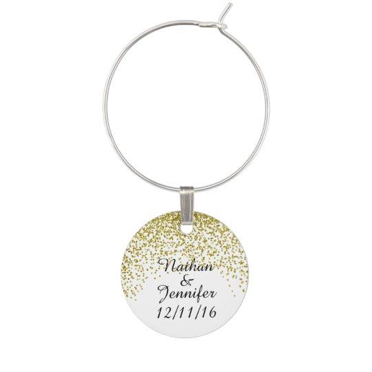 Gold Glitter Confetti Wedding Favours Wine Charm