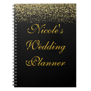 Gold Glitter Confetti Wedding Planner Notebook