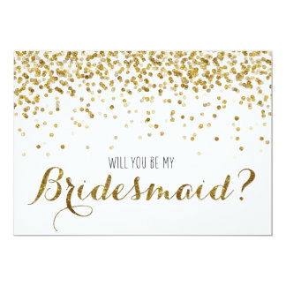 Gold Glitter Confetti Will you be my Bridesmaid 13 Cm X 18 Cm Invitation Card