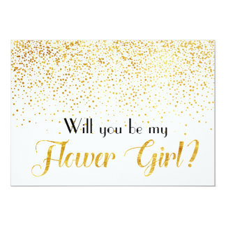 Gold Glitter Confetti Will you be My Flower Girl Card
