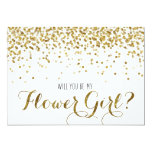Gold Glitter Confetti Will you be my Flower Girl 13 Cm X 18 Cm Invitation Card