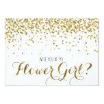 Gold Glitter Confetti Will you be my Flower Girl 13 Cm X 18 Cm Invitation Card